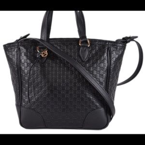 Gucci Bag Black leather monogrammed bag